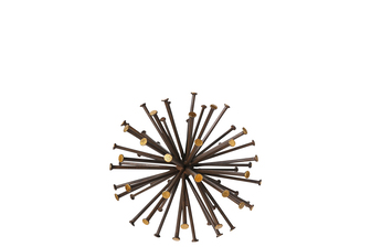 UTC21968 Metal Sea Urchin Ornamental Sculpture Decor with Golden Tip SM Rustic Finish Dark Brown