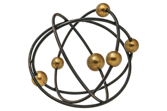 UTC21969 Metal Round Orbital Decor with Golden Orbit Balls LG Tarnished Finish Black