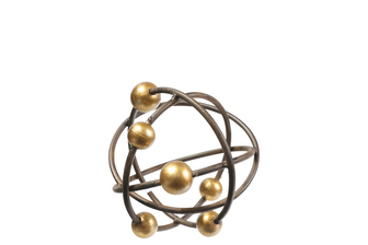 UTC21970 Metal Round Orbital Sculpture Decor with Golden Orbit Balls SM Tarnished Finish Black