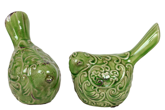 UTC22101-AST Ceramic Bird Figurine with Embossed Floral Design Assortment of Two Distressed Gloss Finish Green