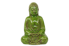 UTC22117 Ceramic Meditating Buddha Figurine with No Ushnisha in Dhyana Mudra Distressed Gloss Finish Green