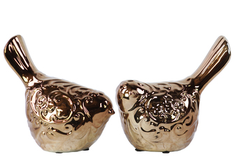 UTC22131-AST Ceramic Bird Figurine Assortment of Two Polished Chrome Finish Bronze
