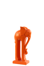 UTC22136 Ceramic Standing Elephant Figurine with Long Legs on Base SM Matte Finish Orange