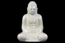 UTC22138 Ceramic Meditating Buddha Figurine with Rounded Ushnisha in Mida No Jouin Mudra LG Gloss Finish White