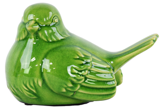 UTC22143 Ceramic Perching Robin Bird Figurine Gloss Finish Green