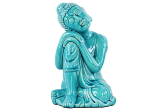 UTC22145 Ceramic Sitting Buddha with Rounded Ushnisha and Resting Head on Knee Figurine LG Gloss Finish Blue