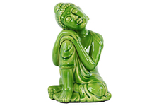 UTC22146 Ceramic Sitting Buddha with Rounded Ushnisha and Resting Head on Knee Figurine LG Gloss Finish Green