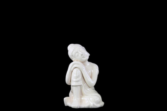 UTC22147 Ceramic Sitting Buddha with Rounded Ushnisha and Resting Head on Knee Figurine SM Gloss Finish White