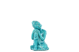 UTC22148 Ceramic Sitting Buddha with Rounded Ushnisha and Resting Head on Knee Figurine SM Gloss Finish Blue