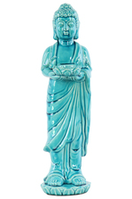 UTC22151 Ceramic Standing Buddha Figurine with Rounded Ushnisha on Lotus Base Holding a Basin Tealight Candle Holder Gloss Finish Blue