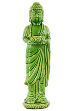 UTC22152 Ceramic Standing Buddha Figurine with Rounded Ushnisha on Lotus Base Holding a Basin Tealight Candle Holder Gloss Finish Green