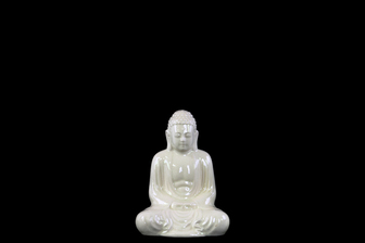 UTC22157 Ceramic Meditating Buddha Figurine with Rounded Ushnisha in Mida No Jouin Mudra SM Gloss Finish White