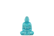 UTC22158 Ceramic Meditating Buddha Figurine with Rounded Ushnisha in Mida No Jouin Mudra SM Gloss Finish Blue