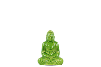 UTC22159 Ceramic Meditating Buddha Figurine with Rounded Ushnisha in Mida No Jouin Mudra SM Gloss Finish Green