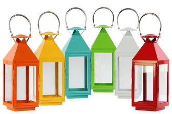 UTC22200-AST Metal Square Lantern with Stainless Steel Handle and Glass Windows Assortment of Six Gloss Finish Assorted Color (Red, Light Blue, White, Yellow, Orange and Yellow Green)