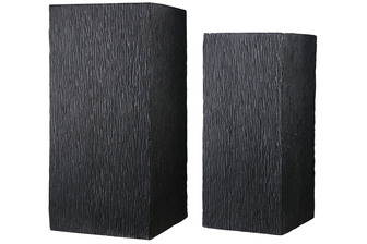 UTC23460 Fiberstone Tall Square Planter with Embossed Brushed Design Body and Center Drainage Hole Set of Two Matte Finish Dark Gray