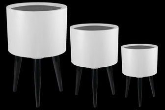 UTC23462 Fiberstone Round Planter with Legs Set of Three Painted Finish White