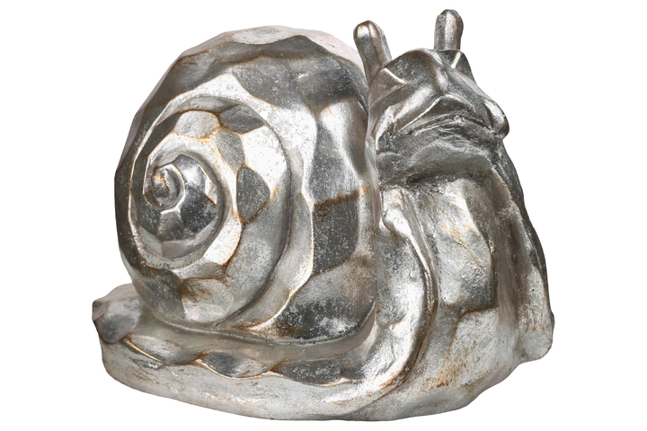 UTC23465 Fiberstone Snail Statue with Hammered Design Body Distressed Finish Silver