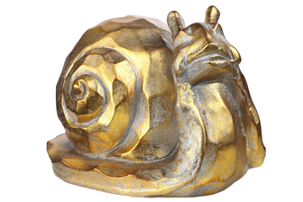 UTC23466 Fiberstone Snail Statue with Hammered Design Distressed Finish Gold