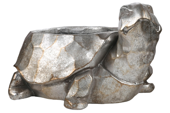 UTC23471 Fiberstone Turtle Planter with Hammered Design Body Distressed Finish Silver