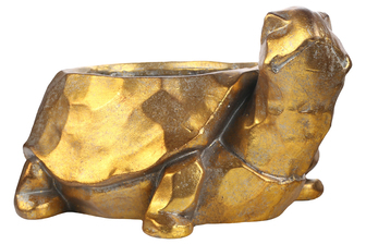 UTC23472 Fiberstone Turtle Planter with Hammered Design Body Distressed Finish Gold