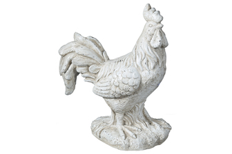 UTC23475 Fiberstone Standing Rooster Figurine with Long Tail Feather on Base Distressed Finish Cream
