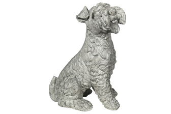 UTC23478 Fiberstone Norfolk Terrier Dog Figurine in Sitting Position Facing Upright Distressed Finish Gray