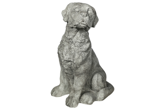 UTC23479 Fiberstone Border Terrier Dog Figurine in Sitting Position Facing Upleft Distressed Finish Gray