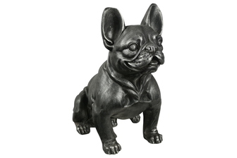 UTC23480 Fiberstone French BulDog Figurine in Sitting Position Distressed Finish Black