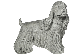 UTC23481 Fiberstone Dinmont Terrier Dog Figurine in Standing Position and Head looking Rightside Distressed Finish Gray