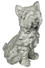 UTC23482 Fiberstone Nowwich Terrier Dog Figurine in Sitting Position Distressed Finish Gray