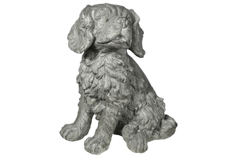 UTC23483 Fiberstone Bolognes Dog Figurine in Sitting Position Distressed Finish Gray