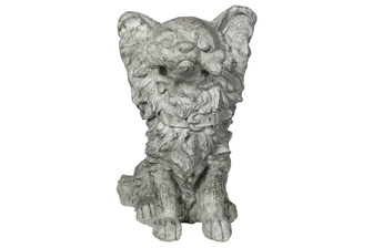 UTC23484 Fiberstone Pomeranian Dog Figurine in Sitting Position Distressed Finish Gray