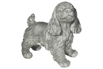UTC23485 Fiberstone Spaniel Dog Figurine in Standing Position Distressed Finish Gray