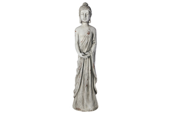 UTC23487 Fiberstone Standing Buddha Figurine in Dhayana Mudra Hand Positon Distressed Finish Gray