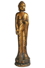 UTC23488 Fiberstone Standing Buddha Figurine in Vitarka Mudra Hand Positon Distressed Finish Gold