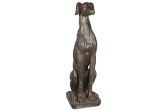 UTC23491 Fiberstone Sitting Greyhound Dog Figurine Distressed Finish Brown