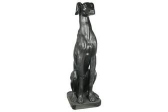 UTC23492 Fiberstone Sitting Greyhound Dog Figurine in Distressed Finish Matte Black