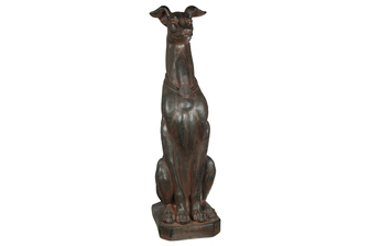 UTC23494 Fiberstone Sitting Greyhound Dog Figurine with Nech Collar Distressed Finish Brown