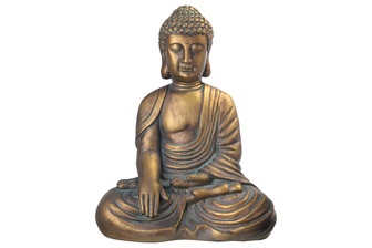 UTC23496 Fiberstone Meditating Buddha Figurine in Bhumisparsa Mudra Positon Distressed Finish Gold