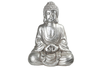 UTC23497 Fiberstone Meditating Buddha Figurine in Dhayana Mudra Positon Distressed Finish Silver