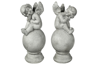 UTC23498-AST Fiberstone Angel Figurine in Resting Head Position and Sitting on Rounded Ball Base Assortment of Two Distressed Finish Gray