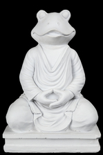 UTC23499 Fiberstone Meditating Frog Buddha Figurine in Dhayana Mudra Positon Painted Finish White