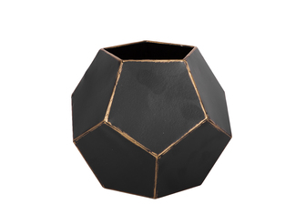 UTC23617 Metal Hexagonal Table Top Sculpture Planter with SM Coated Finish Black
