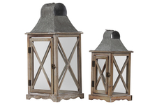 UTC23800 Wood Square Lantern with Metal Top and Ring Handle Set of Two Natural Wood Finish Brown