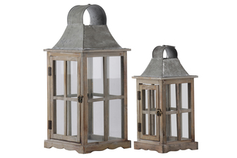 UTC23804 Wood Square Lantern with Metal Top, Ring Handle and Cross Design Body Set of Two Natural Wood Finish Brown