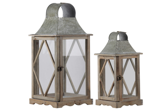 UTC23805 Wood Square Lantern with Metal Top, Ring Handle and Side Diamond Design Body Set of Two Natural Wood Finish Brown