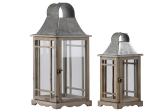 UTC23806 Wood Square Lantern with Metal Top, Ring Handle and Side Intersecting Lines Design Body Set of Two Natural Wood Finish Brown