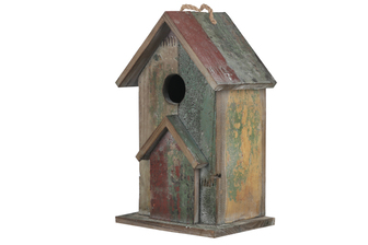 UTC23811 Wood Rectangle Bird House on Base with Top Rope Hanger and Triangular Ledge Weathered Finish Polychromatic