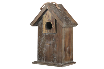 UTC23812 Wood Rectangle Bird House on Base with Top Rope Hanger and Front Perch Weathered Finish Brown